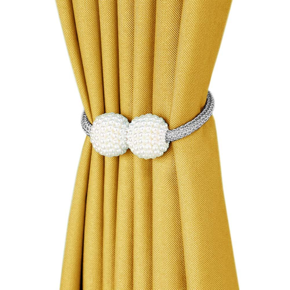 DEZENE 2 Pack Faux Bead Magnetic Curtain Tiebacks,Zero Assembly Draperies' Tiebacks,Decorative Rope Holdbacks Holder for Window Sheer and Blackout Panels,Silver Grey