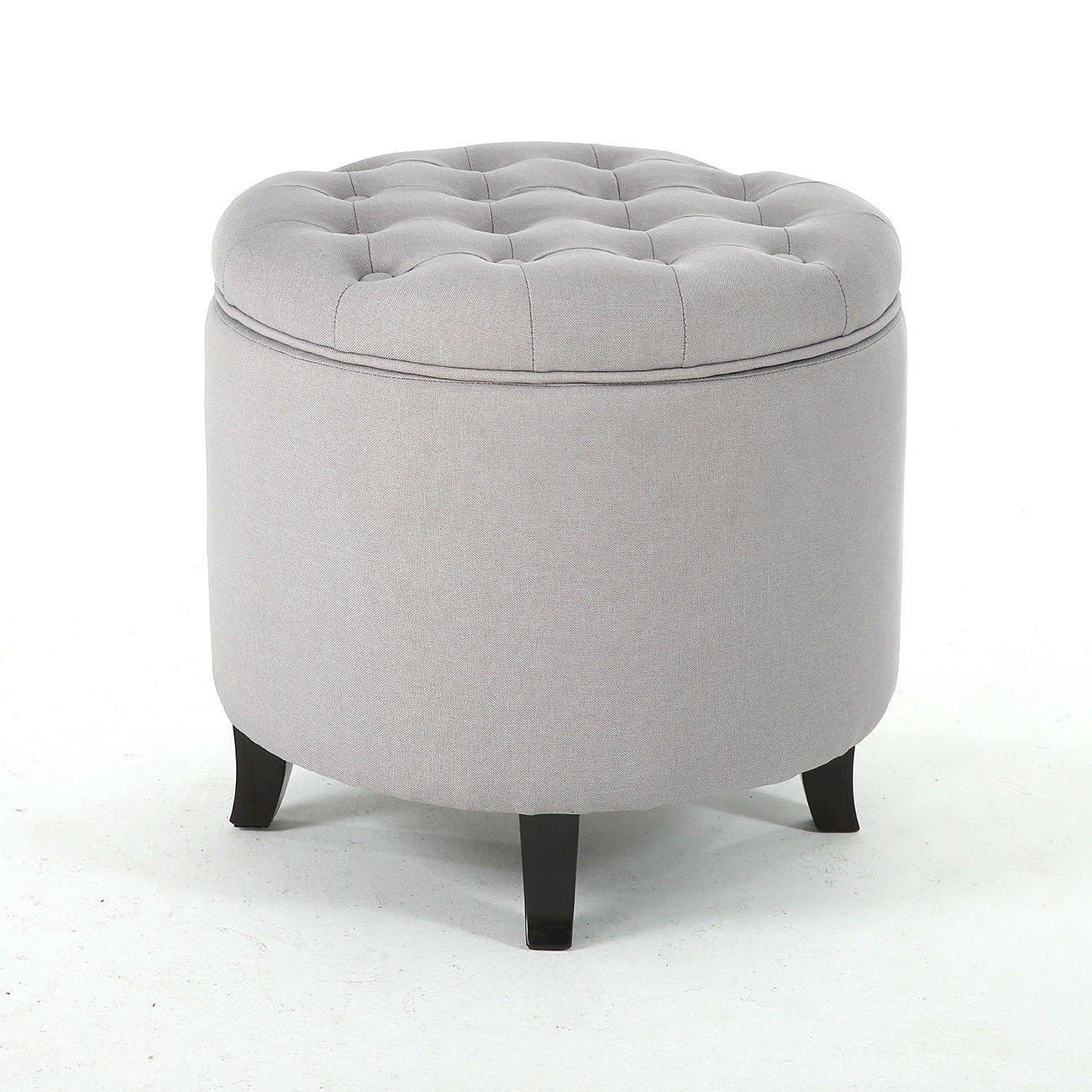 Wondrous Amazon Com Storage Ottoman Seat Nailhead Trim Large Round Caraccident5 Cool Chair Designs And Ideas Caraccident5Info
