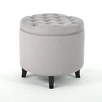 Admirable Amazon Com Storage Ottoman Seat Nailhead Trim Large Round Gmtry Best Dining Table And Chair Ideas Images Gmtryco
