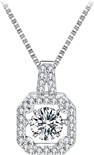 T400 925 Sterling Silver Pendant Necklace with Dancing Diamond Stone Cubic Zirconia Gift for Women