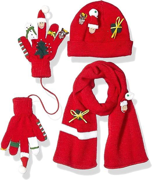 Kids Red Novelty Santa Xmas Pom Pom Bobble Hat and Fingerless Mittens Gloves Set