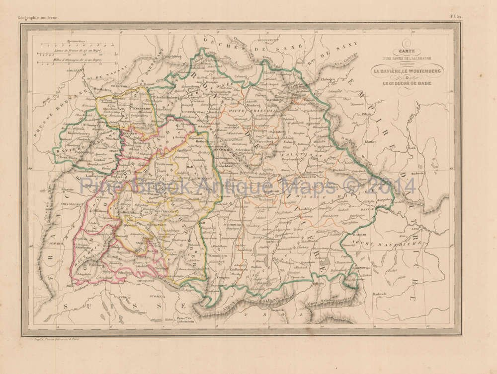 Amazon.com: Southern Germany Antique Map Malte Brun 1850 ...