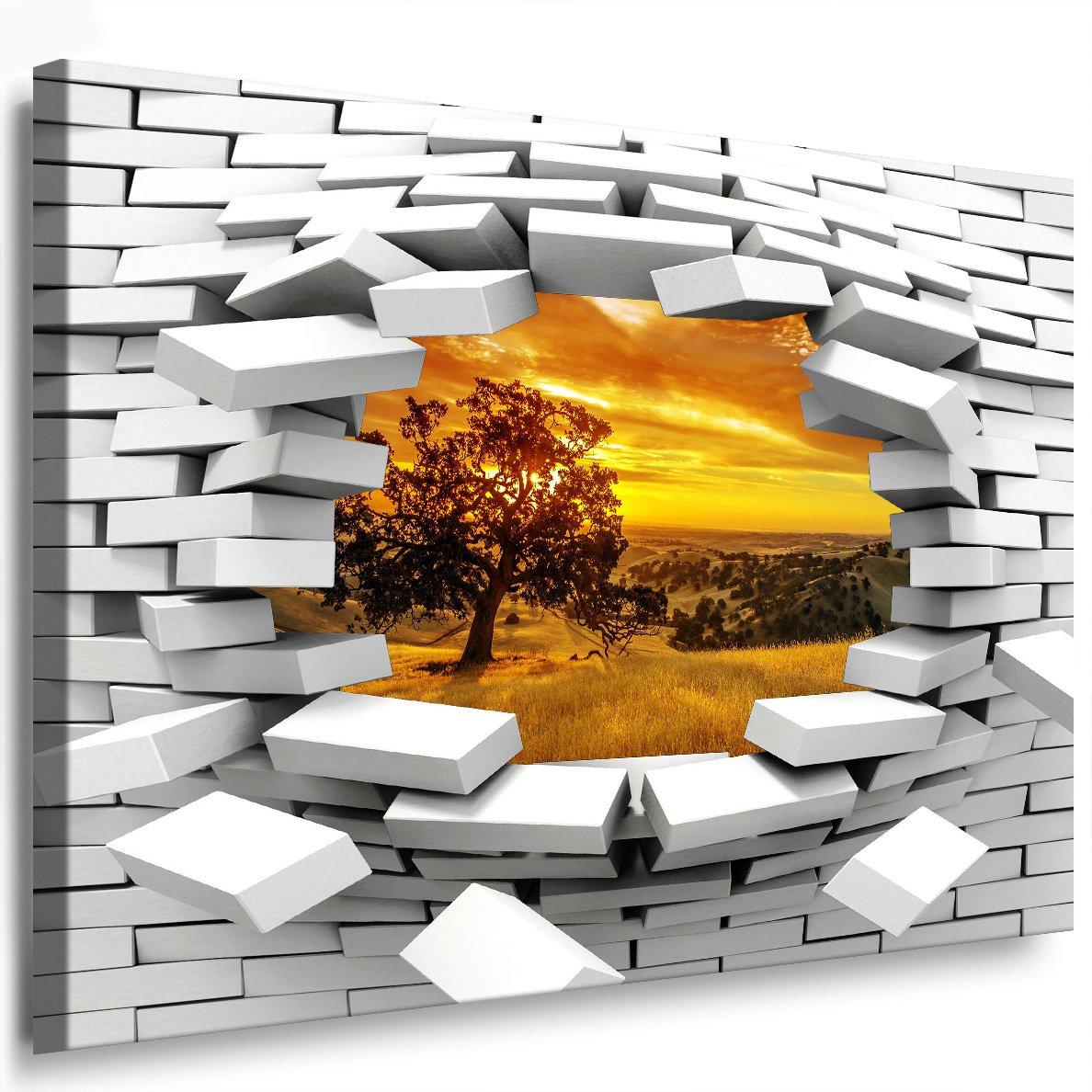 Julia-art Leinwandbilder - Baum, Sonnenuntergang, Landschaft Bild 1 teilig - 120 mal 80 cm Leinwand auf Rahmen - sofort aufhängbar   Wandbild XXL - Kunstdrucke QN.123-6