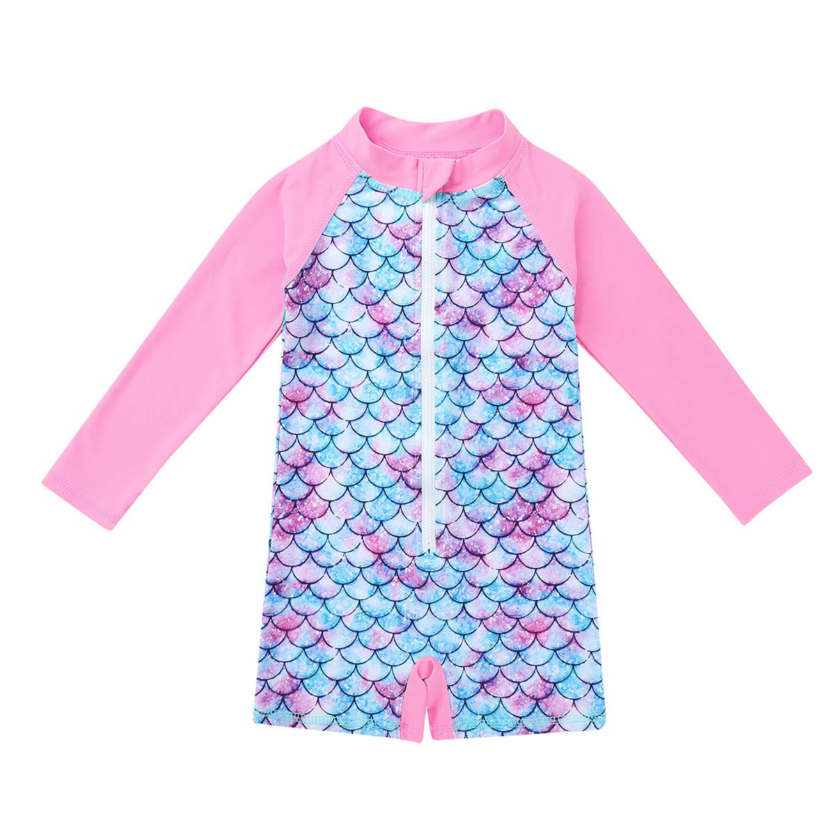 YOOJIA Kids Girls 2PCS Tankini Long Sleeves Mermaid Rashguard Swimsuit Swimwear Bathing Suit