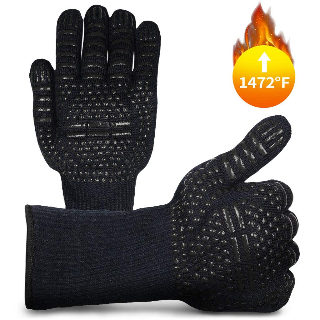 Eoeth BBQ Gloves 1472℉ Extreme Heat Resistant Grill Gloves Food Grade Kitchen Oven Mitts Silicone Non-Slip Cooking Gloves