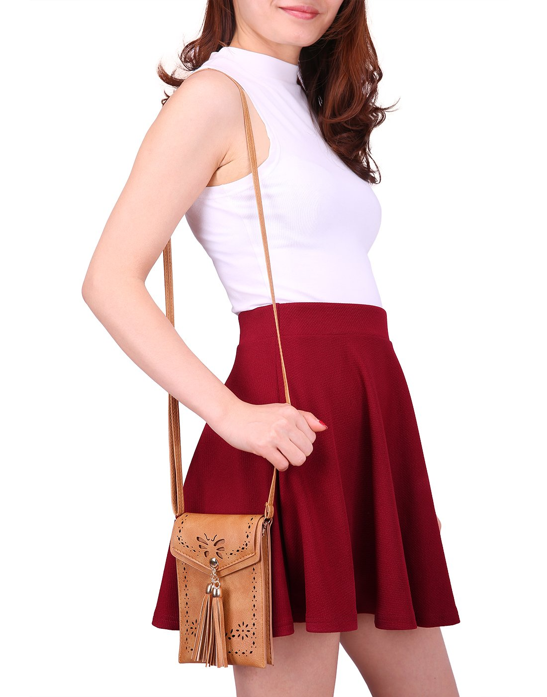 HDE Small Crossbody Pouch Purse Tassel Travel Phone Wallet Vintage Leather Bags (Brown) by HDE (Image #6)