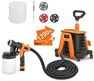 Paint Sprayer, Tacklife SGP17AC 1200W Hvlp Paint Gun, 1100ml/min& 1200ml Detachable Containers, Universal Wheel, Perfect for priming, painting, etc.