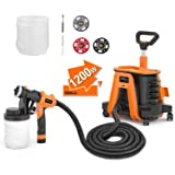 TACKLIFE Paint Sprayer With 1200W High Power, 2pcs 1200ml Containers Electric Spray Paint Gun Supporting 150 Din-s Viscosity