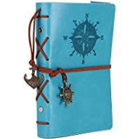 Leather Writing Journal Notebook, EvZ 7 Inches Vintage Nautical Spiral Blank String Diary Notepad Sketchbook Travel to Write in, Unlined Paper, Retro Pendants, Classic Embossed, Sky Blue