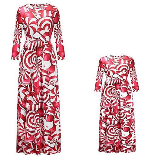 05f5d4c89346 Mommy and Me Lollipop Print Long Sleeve Dress Matching Family Clothes ( Daughter, S(