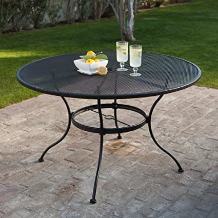 16101b0ba44b Round Wrought Iron Patio Dining Table by Woodard - Textured Black   Black Wrought  Iron Umbrella Patio Table   Garden   Outdoor