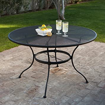 Round Wrought Iron Patio Dining Table By Woodard   Textured