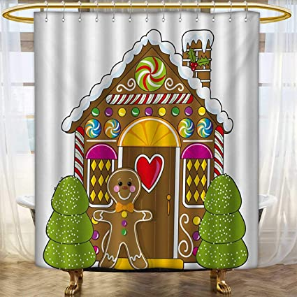 Lacencn Gingerbread ManShower Curtains FabricCute House With Colorful Candies Cookie Man