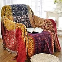 Bohemian Chenille Jacquard Tassels Cozy Throw Blanket Sofa Chair Cover