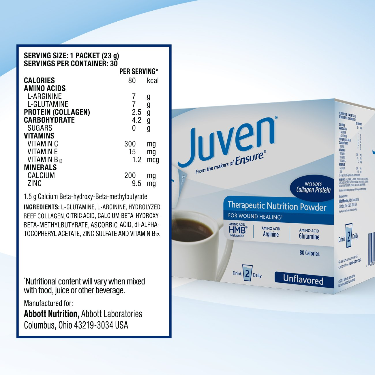 Juven Therapeutic Nutrition Drink Mix Powder for Wound Healing Includes Collagen Protein, Unflavored, 30 Count by Juven (Image #6)