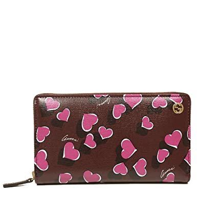 125055c04294c3 Image Unavailable. Image not available for. Color: Gucci Heart Heartbeat  Collection Purple Leather Zip Around Wallet 309705