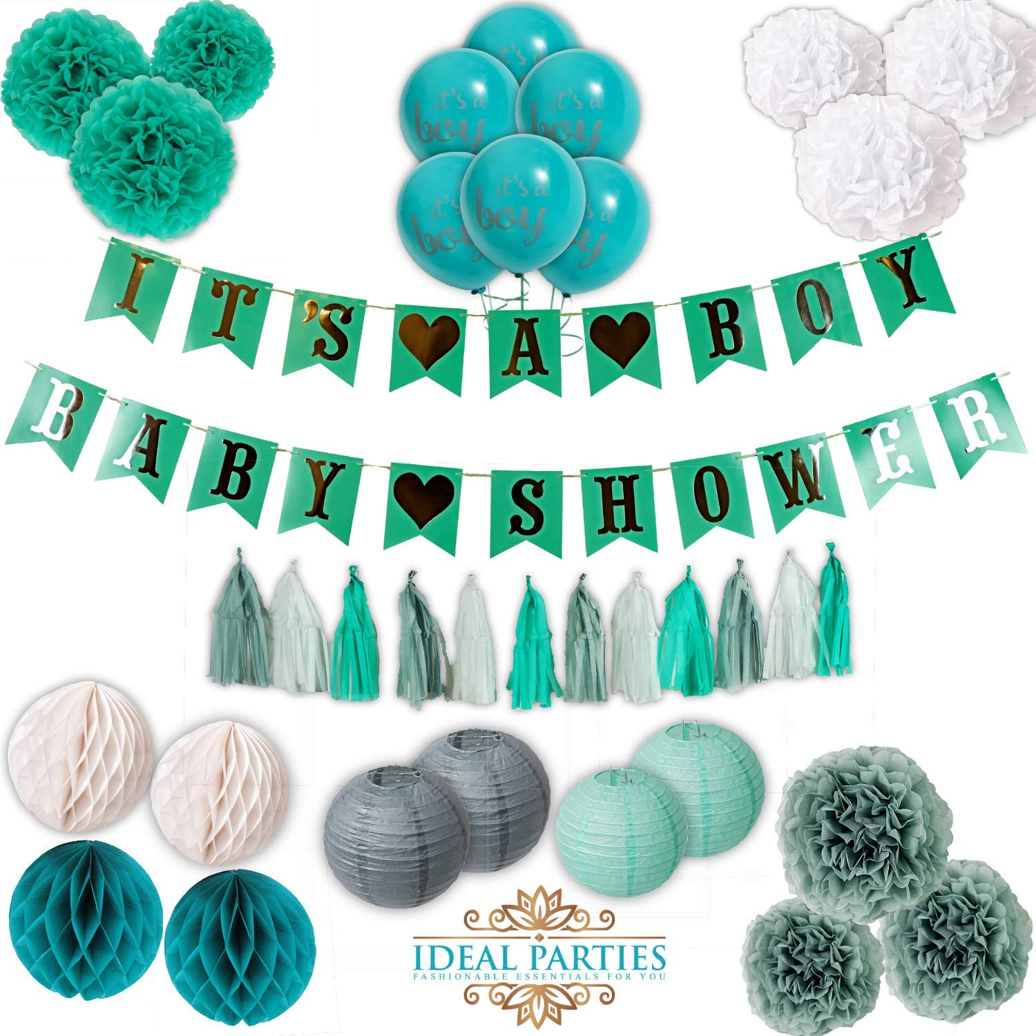 Baby Shower Decorations for Boy, Teal/Mint/Turquoise Easy Set up Flower pom poms, It's a Boy Banners, Balloons, Honey Comb Balls, Lanterns in Teal/Grey/Silver/White Party Unique Baby Shower Set!!
