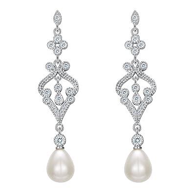 EVER FAITH 925 Sterling Silver Zircon Cream Freshwater Cultured Pearl Art Deco Heart Chandelier Dangle Earrings APbCAHV