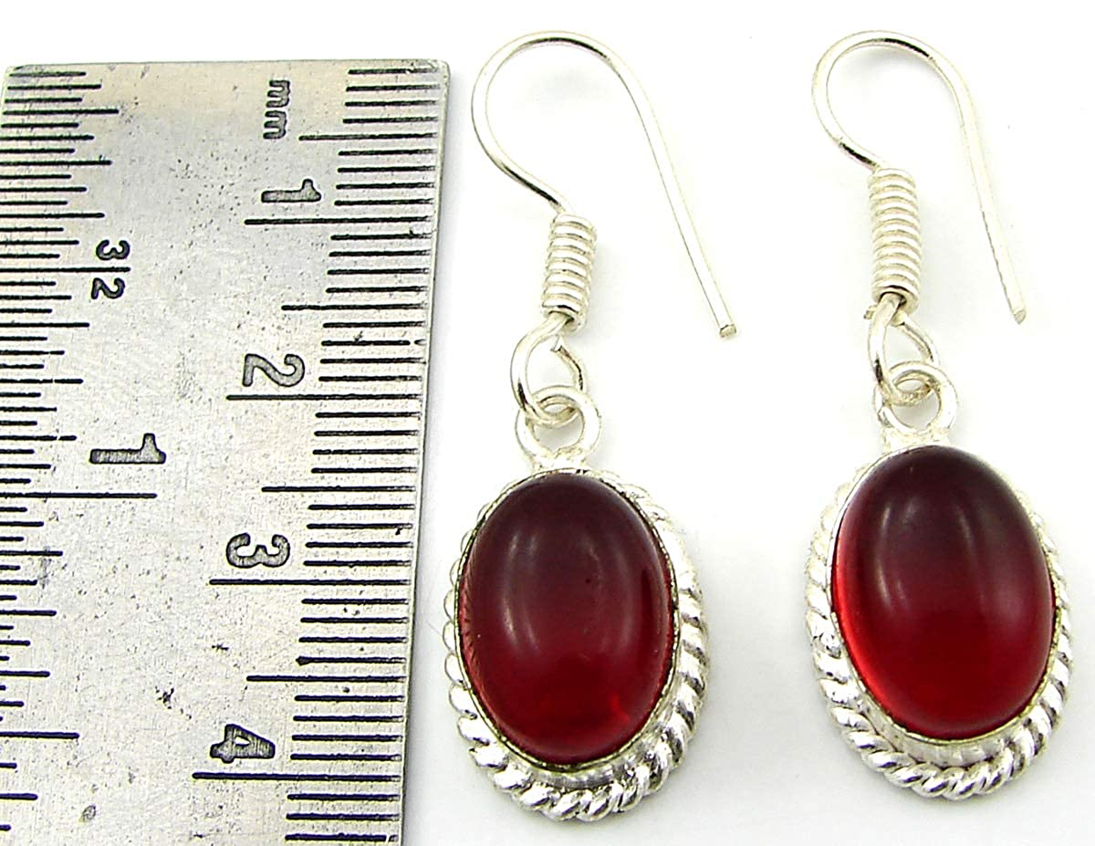 925 Silver Plated Red Color Gemstone Earrings Danglers Girl Fashion Jewelry-1420