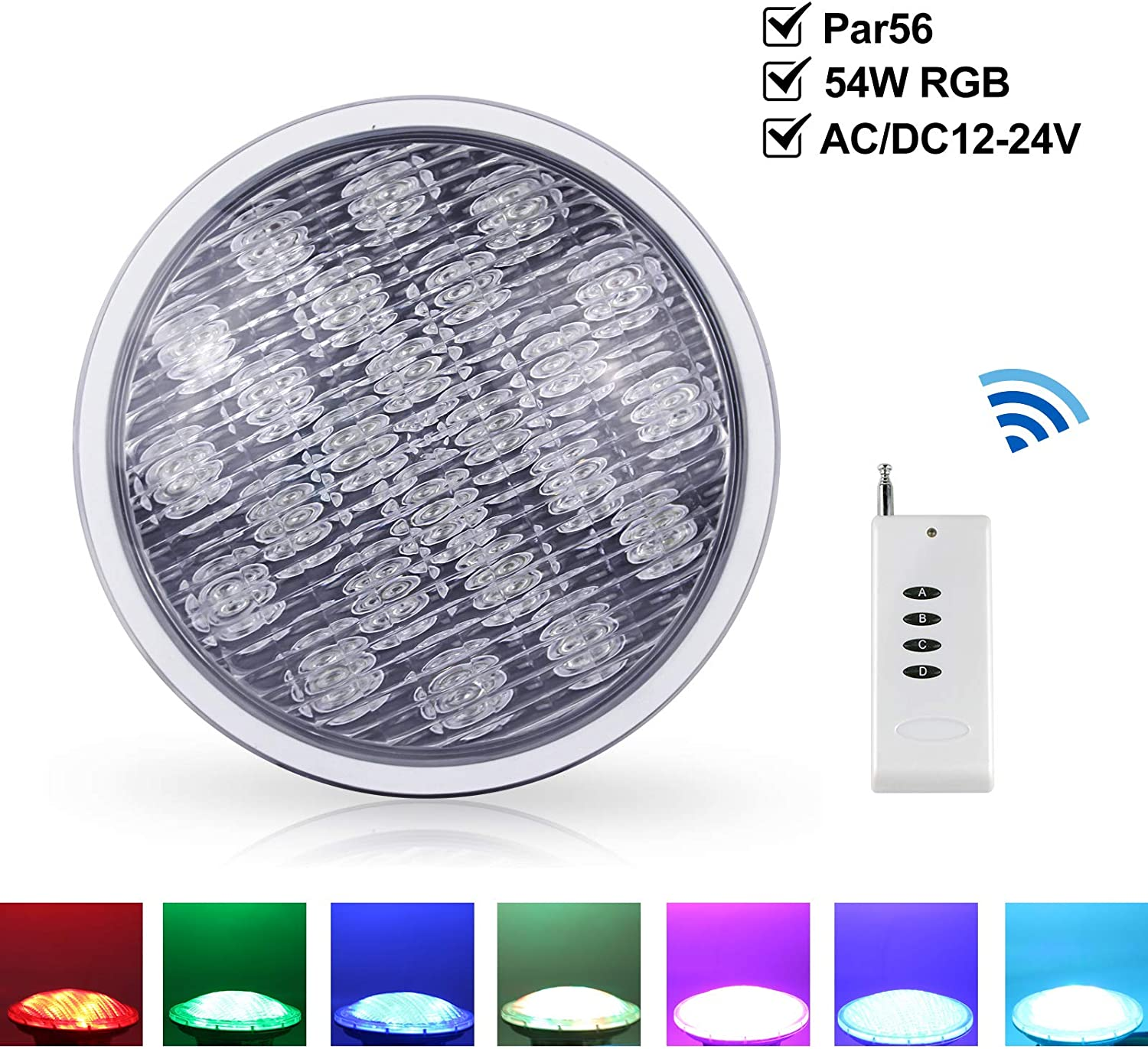 Roleadro Par 56 Led Para Piscina 54W Foco Piscina con Control Remoto,IP68 Led Sumergible de Lámpara Impermeable RGB para Decoración Piscina Swimming Pool Lights 56 Efectos de Luz [AC/DC 12-24V]