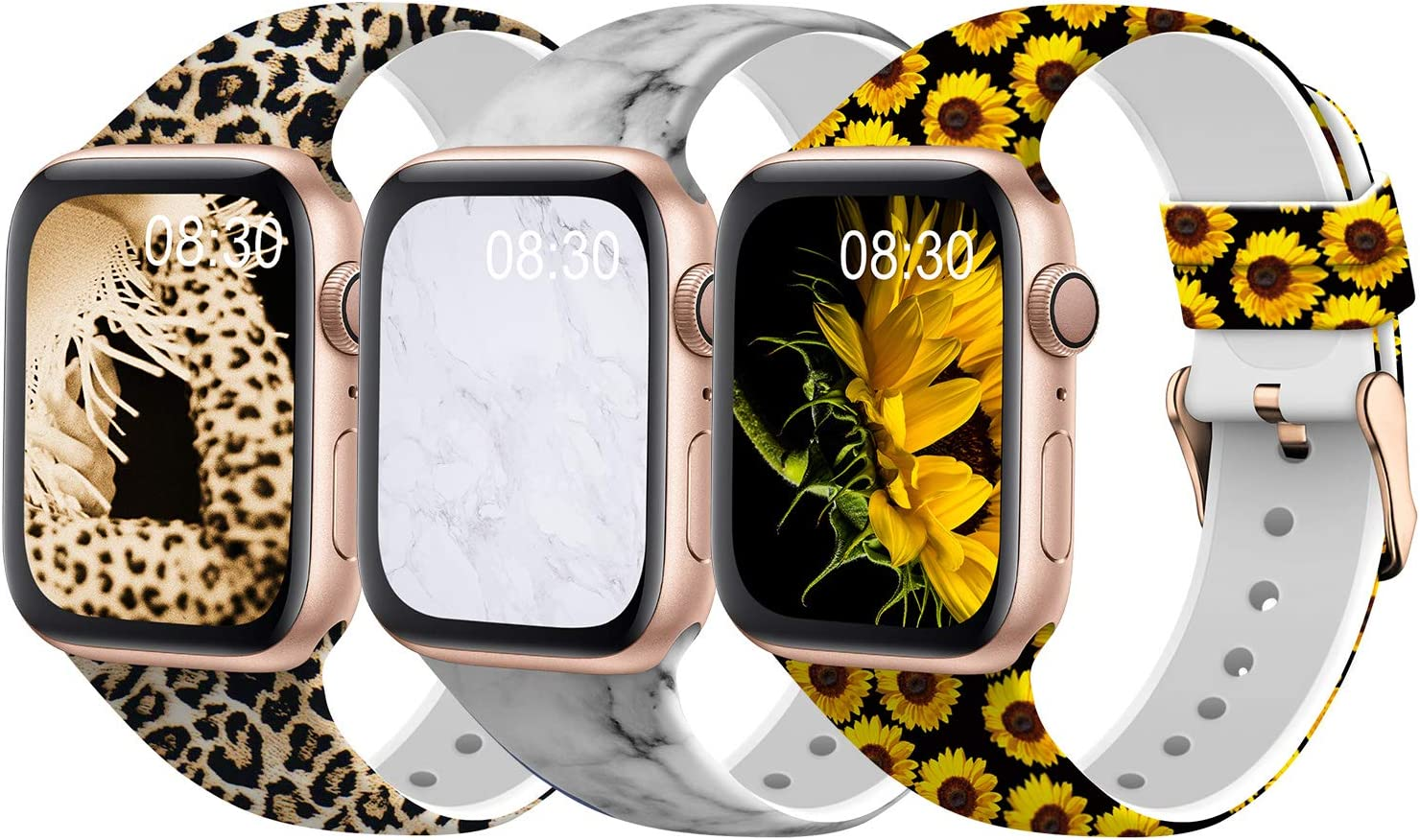 TSAAGAN Silicone Pattern Printed Band Compatible for Apple Watch Band 38mm 42mm 40mm 44mm, Floral Soft Replacement Strap Wristband for iWatch Series 6/5/4/3/2/1 (Leopard/Marble/Sunflower, 38mm/40mm)
