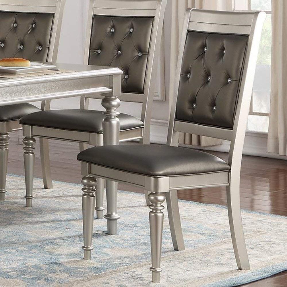 Amazon com set of 4 modern silver finish rubber wood and faux leather dining chairs with diamond tufted back table chair sets