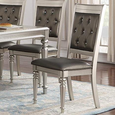 Pleasant Amazon Com Set Of 2 Modern Silver Finish Rubber Wood And Machost Co Dining Chair Design Ideas Machostcouk