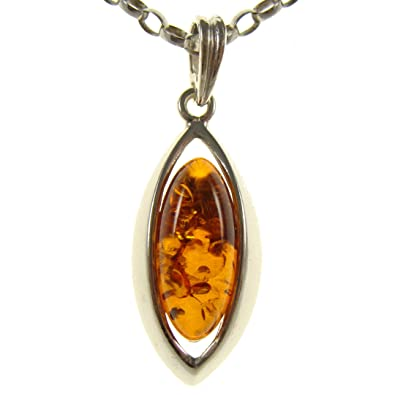 14 16 18 20 22 24 26 28 30 32 34 1mm ITALIAN SNAKE CHAIN BALTIC AMBER AND STERLING SILVER 925 PENDANT NECKLACE