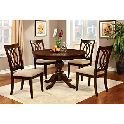 Furniture of America Frescina Round Dining Table in Brown Cherry