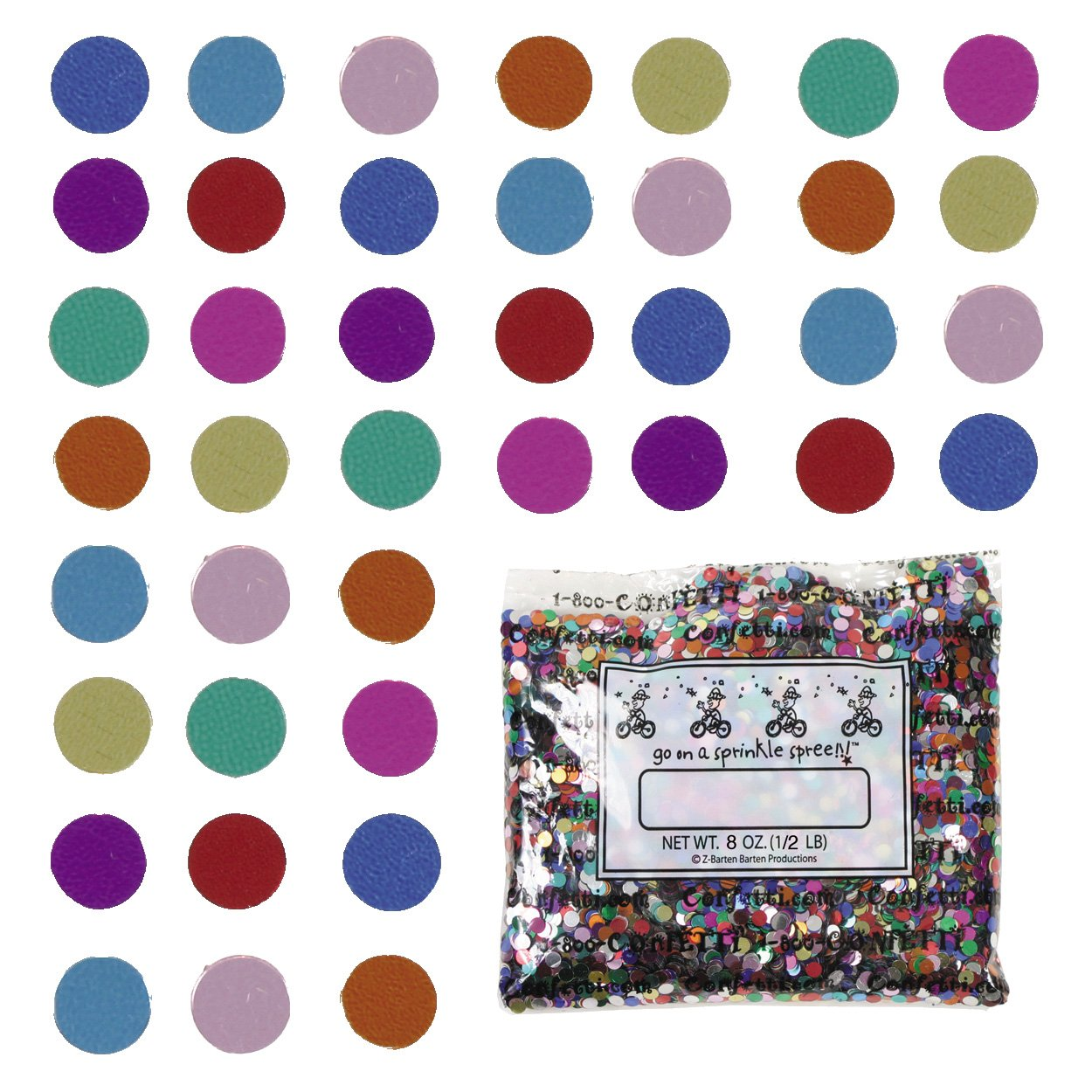 Confetti Circle 1/4'' MultiColor Mix - Half Pound Bag (8 oz) FREE SHIPPING --- (CCP8561)