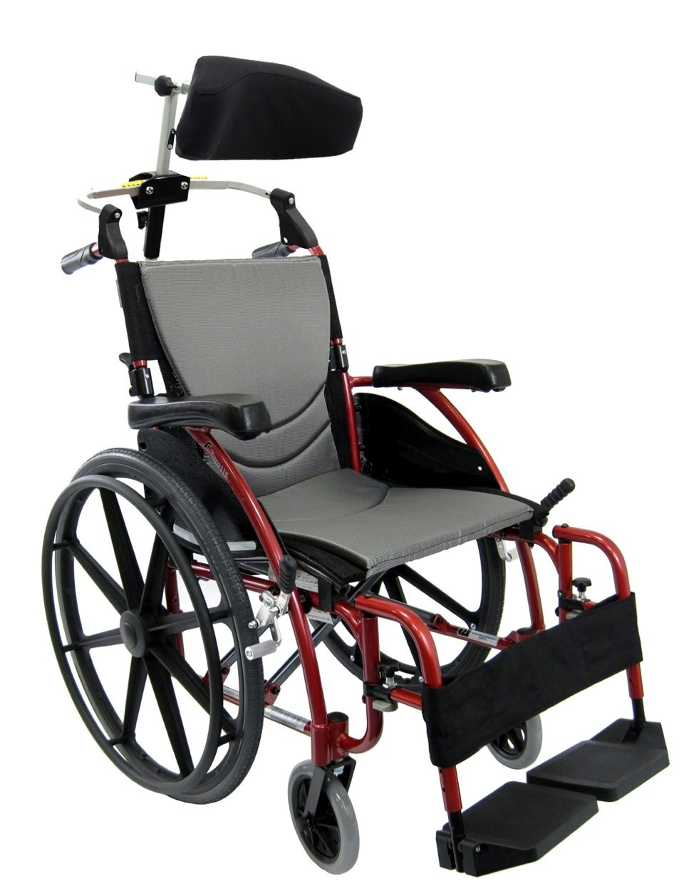 Karman Healthcare 27 Pounds S-115 Mag Wheel Red with Headrest, Rose Red, 27 Pound