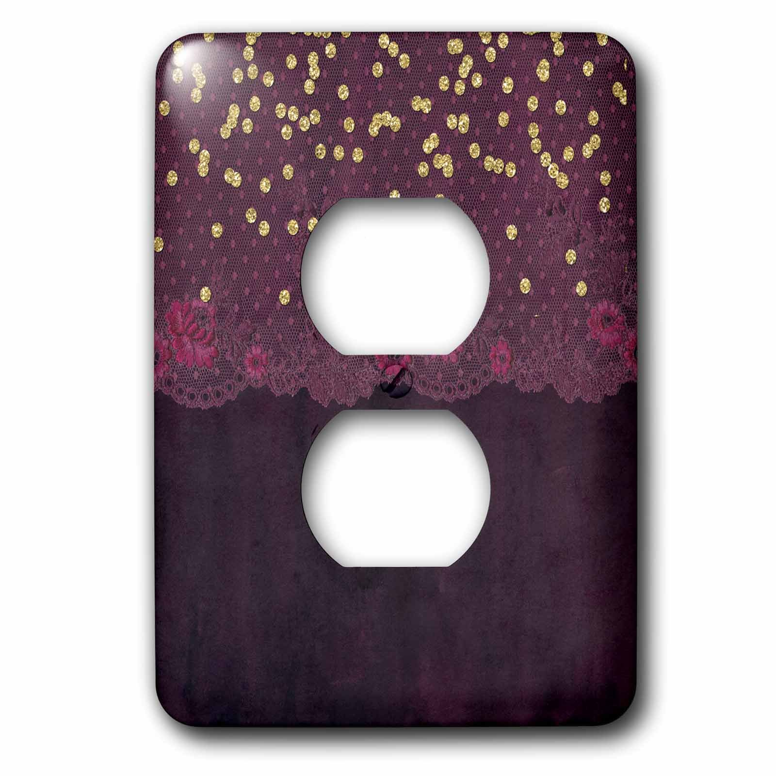 3dRose Uta Naumann Vintage Lace Collection - Purple Floral Luxury Lace and Gold Confetti on Watercolor Background - Light Switch Covers - 2 plug outlet cover (lsp_267044_6)