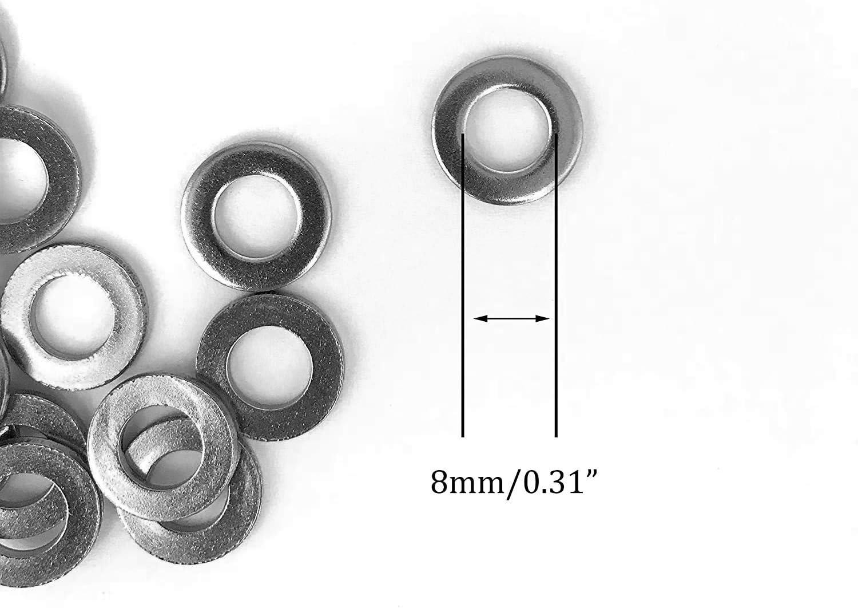1STEC tornillos hexagonales y tuercas de bloqueo Arandela de metal para reparaci/ón de tornillos hexagonales 100 unidades, 8 mm