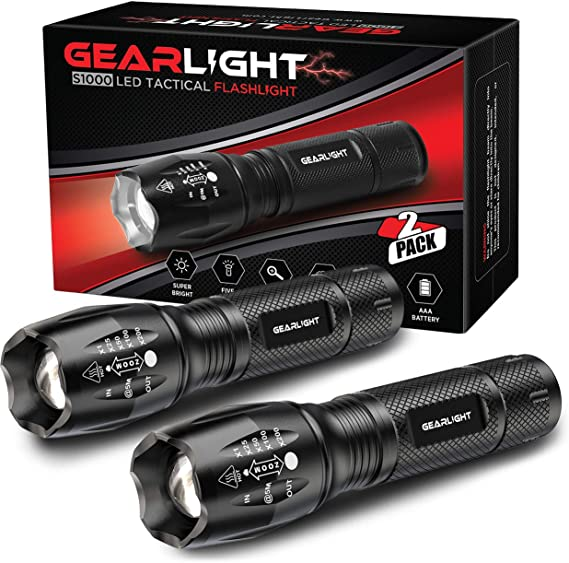 GearLight LED Tactical Flashlight S1000 [2 PACK] - High Lumen