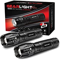 GearLight LED Tactical Flashlight S1000 [2 PACK] - High Lumen, Zoomable, 5 Modes, Water Resistant, Handheld Light - Best…