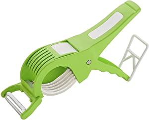 Vegetable Cutter Slicer Chopper 2 in 1 Stainless Steel 5 Blade Vegetable Cutter with Peeler Durable Veggie Slicer Multi Cutter With Peeler Onion Cutter With Lock System/Plastic