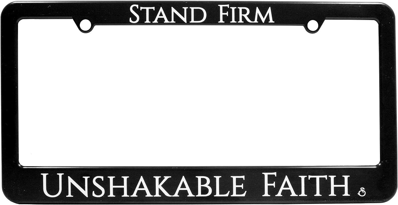 Black//White Swanson License Plate Frame 6 x 12 inches Religious Unsakable Faith