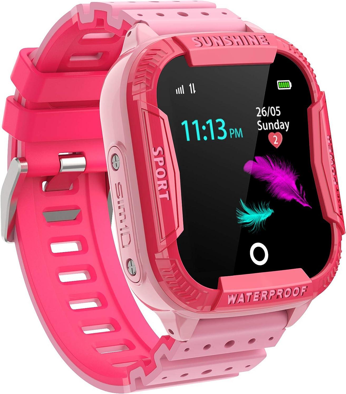 PTHTECHUS Reloj Inteligente Niño, Smartwatch para Niños IP67 con WiFi, LBS, Juegos, Llamada, SOS, Cámara, Chat de Voz, Modo de Clase, Reloj Regalo para Niños de 3-12 años, Rosa