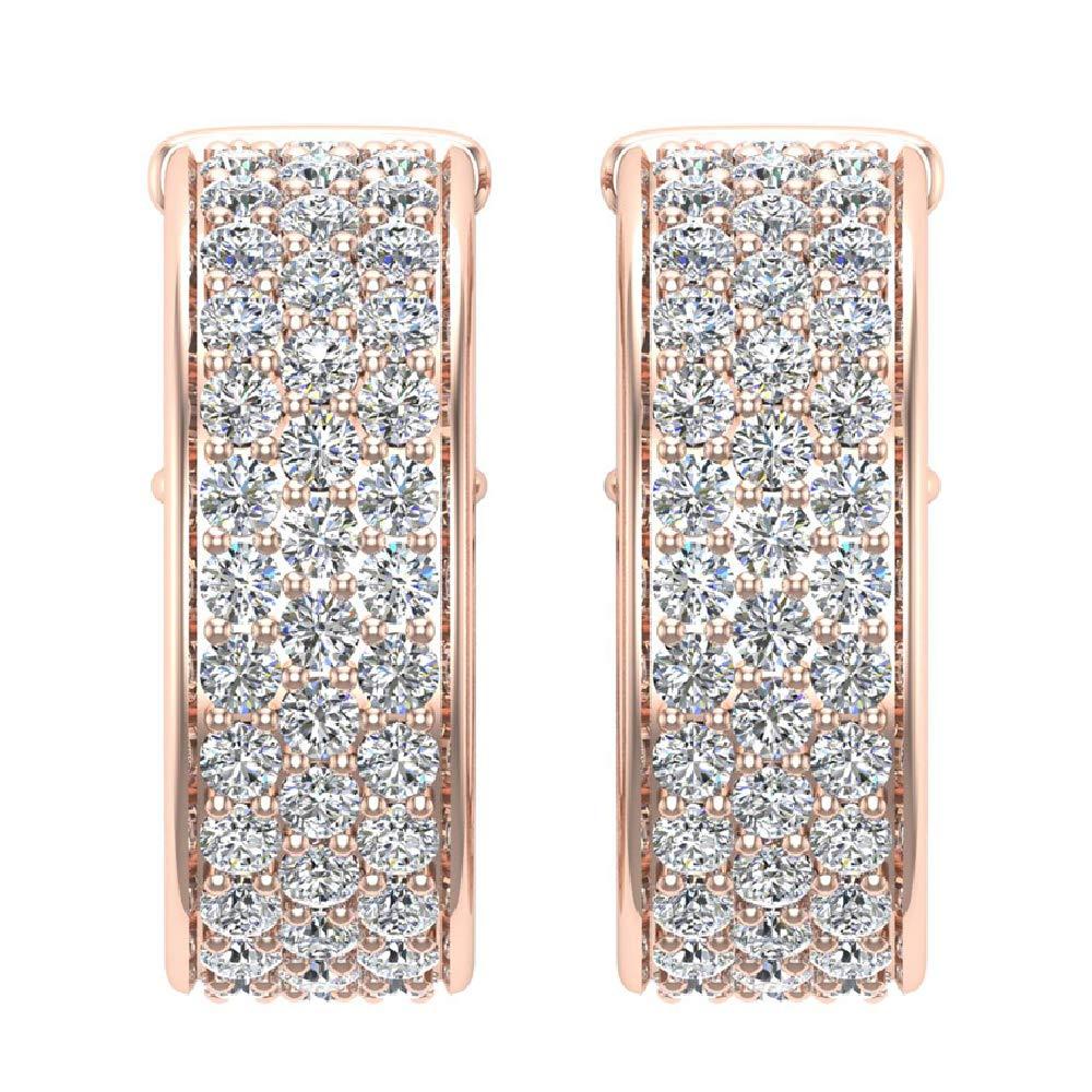 19 mm Diameter Three Row Pav/é Set Diamond Hoop Earrings 3.00 ctw 14k Gold J,I1