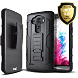 LG G3 Case, Starshop [Heavy Duty] Dual Layers Kickstand Case With [0.33m 9H Tempered Glass Screen Protector Included] and Locking Belt Clip (Black)