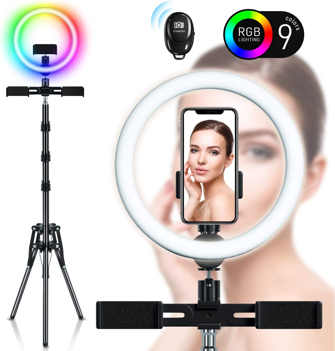 YouTube Video 10/'/' Selfie Light Ring LED Ring Light with Tripod Stand /& Phone Holder 9 Colors 11 Brightness Levels Standing Floor Light Halo Light with 3 Phone Holders for Live Streaming Vlog