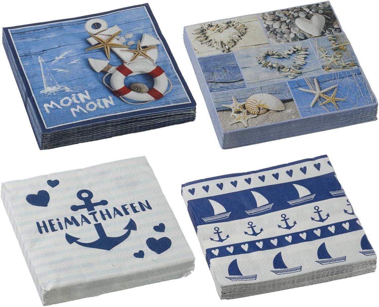Bada Bing Lot de 4 Serviettes en Papier avec Inscription Maritim Inscription en Allemand Mer 80 pi/èces Blanc//Bleu