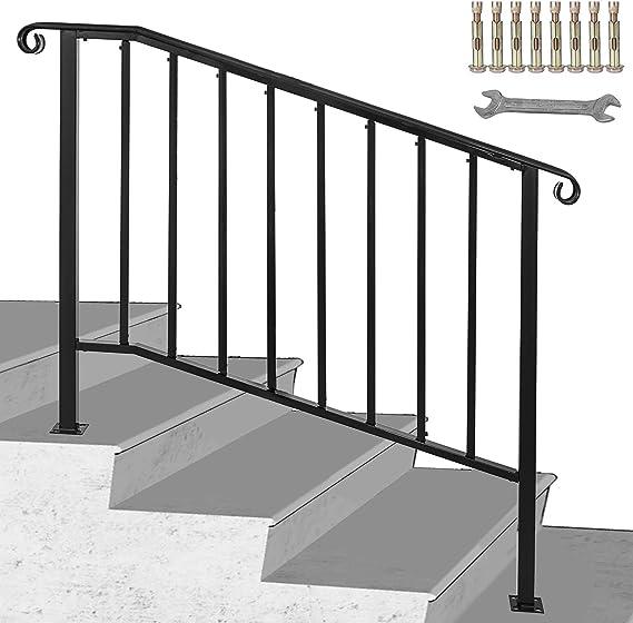 BuoQua Barandilla para Escaleras de Hierro Inoxidable Pasamanos de Escaleras del Hierro Labrado Negra de 3 o 4 Pasos Barandilla de Hierro Negro: Amazon.es: Bricolaje y herramientas