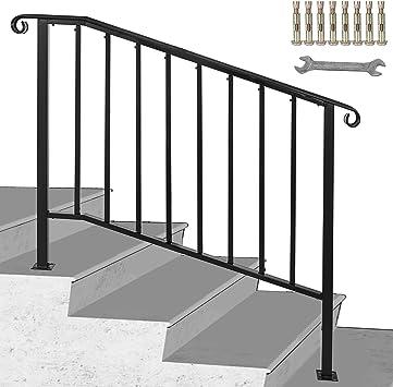GIOEVO Barandilla #3 Set barandilla para escalera negra mate con 3 o 4 peldaños barandilla pasamanos de hierro para peldaños exteriores: Amazon.es: Bricolaje y herramientas