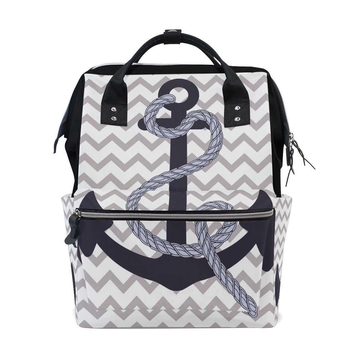 ALIREA Nautical Anchor Diaper Bag Backpack, Large Capacity Muti-Function Travel Backpack