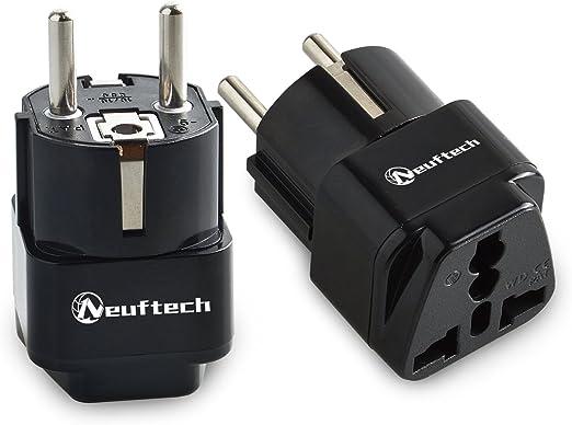 Neuftech 2 X 4.8mm Enchufe Universal Viaje Adaptador para UK, USA, EU, Aus a España, Portugal, Alemania, Corea, Dinamarca, Finlandia, Noruega, Polonia, Bali, Grecia, Francia etc: Amazon.es: Electrónica