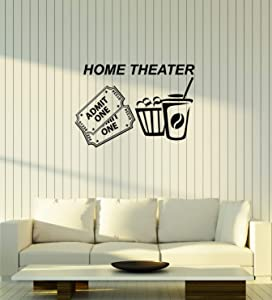 Vinyl Wall Decal Home Theater Tickets Popcorn Cinema Movie Room Interior Stickers Mural Large Decor (ig6010) Black