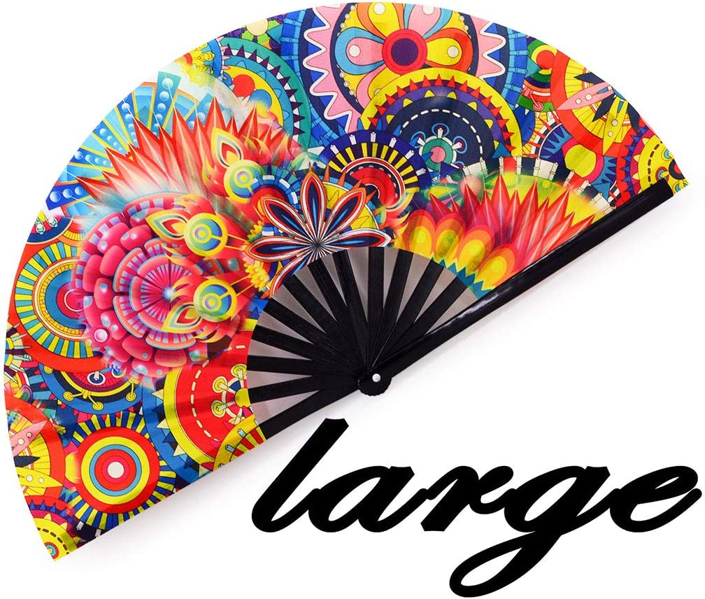 meifan Folding Fans Large Rave Hand Fan for Men Women, 13-Inch Chinese Japanese Bamboo Handheld Fan for Dance, Gift, Performance, Decorations, Music Festival, Party, Club - Clack Fan (Dream Paradise)