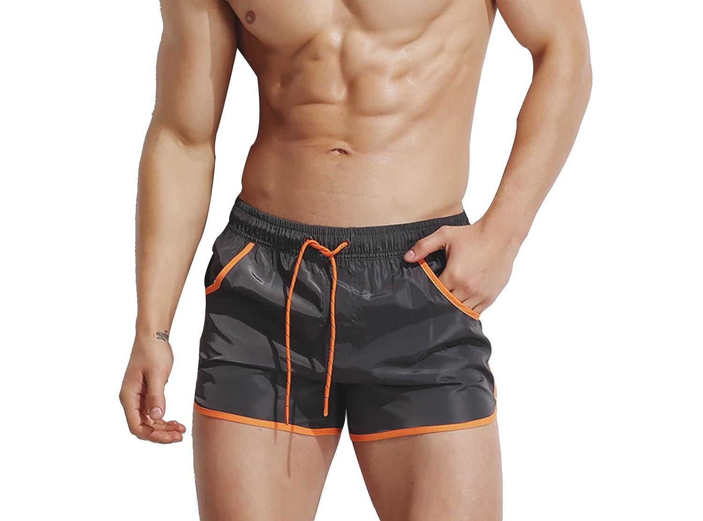 Mens Swim Trunks Swimming Briefs Beach Shorts QuickDry Swimwear Swimsuit Pocket SOWCO