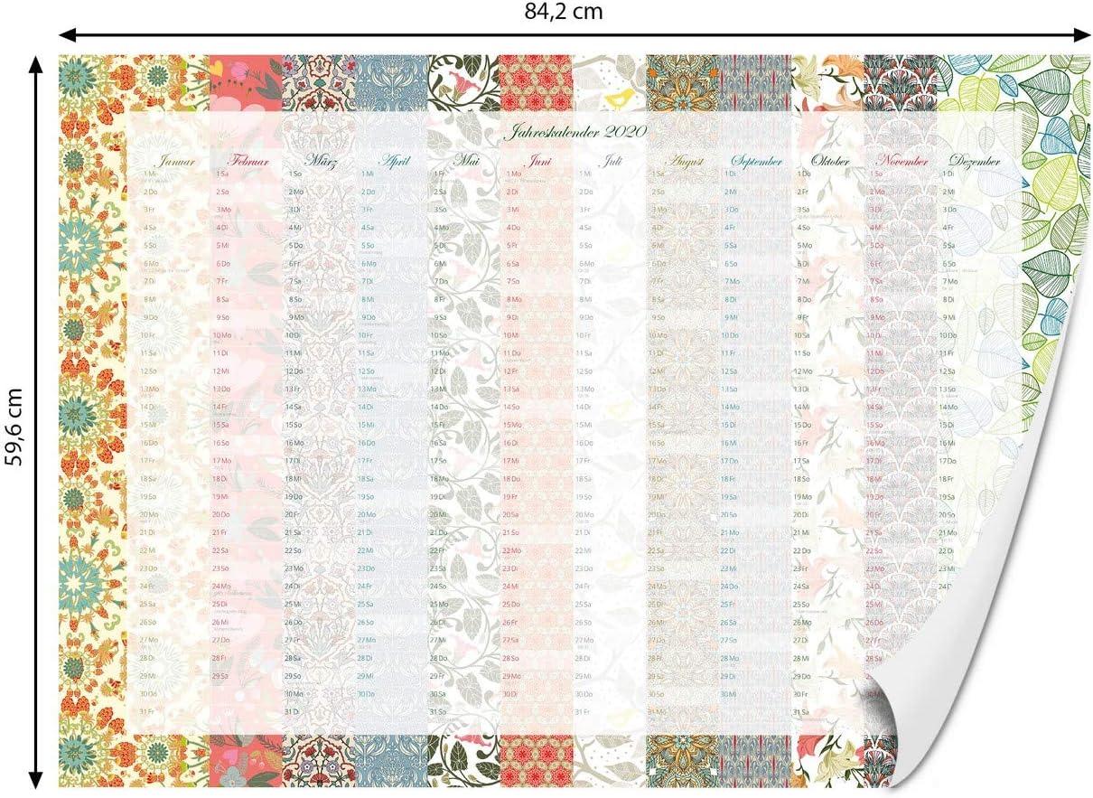 Geburtstagskalender DIN A1 Jahresplaner Familienplaner 59,4cm x 84,1cm Jahreskalender mit Motiv Florales Jahr banjado Wandkalender f/ür 2020